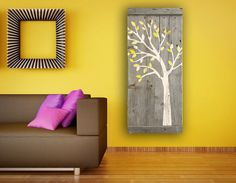Reclaimed Wood Wall Art, Hand painted silhouette of a cute whimsical tree in white.