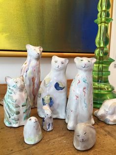 Tin-glazed earthenware cats and rabbits by Agalis Manessi.at Tanner & Lawson's new London gallery