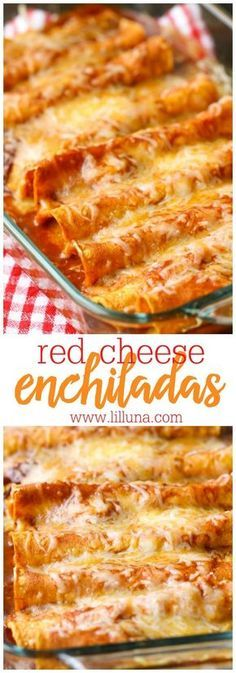 Restaurant-Style Red Cheese Enchiladas - an old family favorite recipe that is simply the best. Corn tortillas filled with cheese, tomato sauce, chile puree, salt & garlic pepper and topped with more (Mexican Recipes Enchiladas) Mexican Dishes, Mexican Food Recipes, New Recipes, Vegetarian Recipes, Cooking Recipes, Dinner Recipes, Favorite Recipes, Recipies, Good Mexican Food