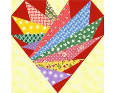 Feathers In My Heart paper pieced quilt block