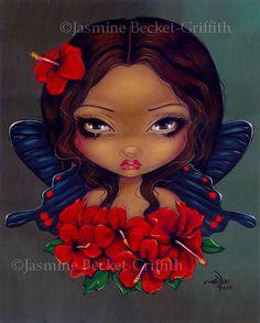 Jasmine Becket Griffith Art Print Signed Red Hibiscus Fairy Tiki Tropical Hawaii   eBay