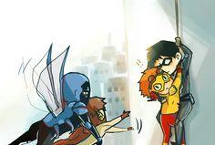 Birdflash - Look! Wally West Young Justice, Young Justice League, Birdflash, Dc Comics, Boys Anime, Blue Beetle, My Superhero, Dc Memes, Batman Robin