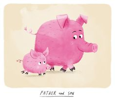 Pigs - Father and Son - Chris Chatterton Cute Animal Illustration, Cute Animal Drawings, Book Illustration, Character Illustration, Animal Illustrations, Character Inspiration, Character Design, Pig Art, Little Pigs