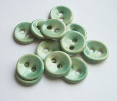 Soft Mint Ceramic Buttons by buttonalia on Etsy, $30.00