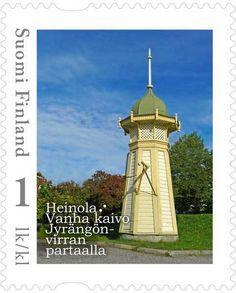 Heinolan Postimerkin päivän 2014 postimerkki. Merkki perustuu Kari Utin valokuvaan vanhasta kaivosta Jyrängön virran partaalla. Postage Stamps, Mozzarella, Finland, Denmark, Lighthouse, World, Winter, Design, Windmills