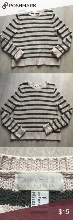 Forever 21 Sweater This army green and cream sweater was worn maybe twice. It is in perfect condition. Forever 21 Sweaters
