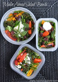 This looks yummy.  Make-Ahead Salad Bowls | www.nutritiouseats.com