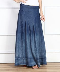 This Blue Ombré Denim Peasant Maxi Skirt is perfect! #zulilyfinds