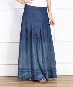 Look at this #zulilyfind! Blue Ombré Denim Peasant Maxi Skirt by Miss Maxi #zulilyfinds