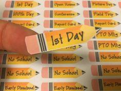 School Pencil shaped Planner stickers for your Erin Condren Planner