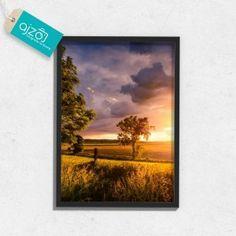 Plakat w ramie ostatnie promienie. #plakat #krajobraz #fotografia #sztuka #słońce #promienie