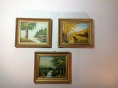Vintage Set of 3 Small Oil Paintings in Wood Frames -Stream-Lake-Fall Scenes #Impressionism