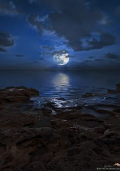 Blue moon over rocks at Carlin Park in Jupiter Florida