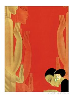 Woman and Statues Poster van Frank Mcintosh bij AllPosters.nl