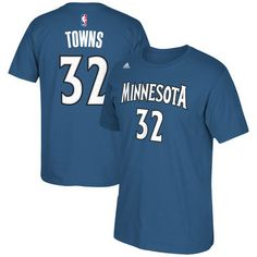 fbbc5be5a00f Men s Minnesota Timberwolves Karl-Anthony Towns adidas Blue Net Number T- Shirt