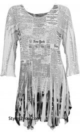 RC Bebe Newsprint Tunic With Rhinestones In Black & White