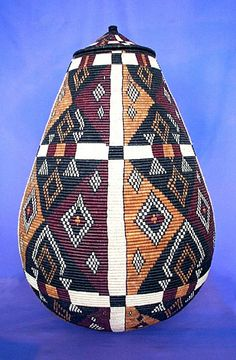 African Zulu basket from South Africa. The hand woven baskets provide a trade for women in small villages while still being able to keep up with house work and caring for children. African Crafts, African Art, Zulu, Out Of Africa, Arte Popular, Weaving Art, African Design, Basket Weaving, Woven Baskets