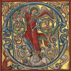 "blancefleur: "" Saint Michael and the Dragon in an initial Q by an Unkown master German, Würzburg, about 1240 - 50 Getty Museum """