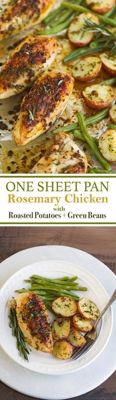 One Sheet Pan Rosemary Chicken + Potatoes & Green Beans - ALL cooked on one sheet pan and ready in under an hour! #roastedchicken #rosemarychicken #roastedpotatoes #onepandinner | Littlespicejar.com