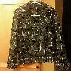 Very stylish pea coat - Reposhing Plaid Black, White and Teal pea coat in great condition. I purchased this for my Daughter and unfortunately the sleeves are to short for her. Reposhing :) Buffalo David Bitton Jackets & Coats Pea Coats
