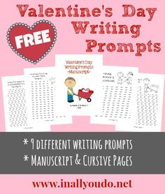 Valentines Day Writing Prompts FREEBIES