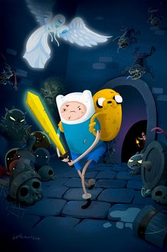 Adventure Time Comics Issue 16 Cover B by JJ Harrison for Boom Studios I love when Finn and Jake go dungeon crawling and I especially love the Guardian Angel. I think this issue is out in a. Adventure Time Comics, Adventure Time Finn, Best Cartoons Ever, Cool Cartoons, Pendleton Ward, Land Of Ooo, Boom Studios, Finn The Human, Jake The Dogs