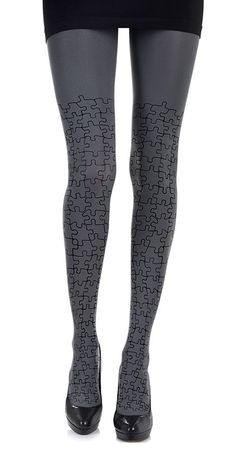 Create a fun & stylish Look with these Full Puzzle Print Tights Grey & Black #TrendyLegs $35.95