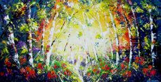 An original painting of woodlands.  This is a large, magical painting of a woodland scene as the light of the sun penetrates the foliage.The sun in the centre forms the outline of a huge heart al...