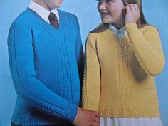 "Knitting Pattern Children Boy and Girl Cable V Neck Jumper 4 Ply 24-34"" Vintage by CraftybyLulu on Etsy"