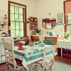 Sweet, simple, and nostalgic—we'd call this the perfect #farmhouse kitchen. #kitchenswelove #ohj #itsjustdarling