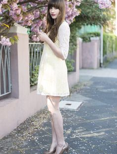 #spring #flowers #lace #pastel #dress