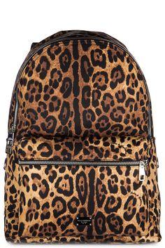 Dolce&Gabbana men's rucksack backpack travel volcano leopard brown