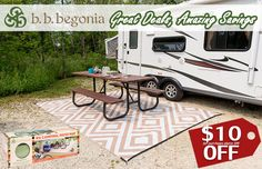 Leap in Savings! Find unique outdoor rug and RV mats designs. Shop with huge savings with your every purchase. Save $10 for purchases above $99 and save $20 for purchases above $199. Free Shipping to the US and Canada. Visit bbbegonia.com now to order! Reusable Shopping Bags, Reusable Bags, A Frame Camper, Mat 10, Begonia, Rv Camping, Rv Living, Outdoor Area Rugs, Motorhome
