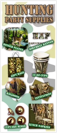 8 Must Have Hunting Party Supplies for Your Hunting Themed Celebration! Your guests won't be able to hide their excitement when they see the party you put together with these awesome Hunting Party Decorations. Camo Birthday Party, 1st Birthday Parties, Boy Birthday, Birthday Ideas, 12th Birthday, Deer Hunting Birthday, Hunting Dogs, Duck Dynasty Party, Little Girls