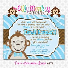 Cute Mod Monkey Baby Shower invitation for by SillyMonkeyPrints, $12.95