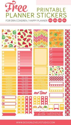 4f816685eb88 Free printable planner stickers with colorful tropical fruit motifs in  yellow