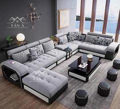 Corner Sofa Design, Sofa Bed Design, Living Room Sofa Design, Bedroom Bed Design, Home Room Design, Bed Furniture, Furniture Design, Wooden Sofa Set Designs, Cheap Living Room Sets