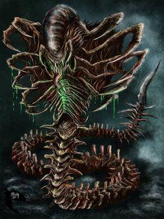 My post-alien day art entry, my version of the snake alien inspired by Kenner's old Aliens toyline Xenomorph Snake Alien Vs Predator, Predator Alien, Monster Concept Art, Alien Concept Art, Fantasy Monster, Alien Creatures, Fantasy Creatures, Mythical Creatures, Rpg Cyberpunk
