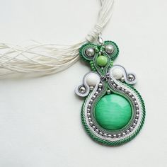 """Piołun  """"Wormwood"""" soutache necklace Soutache Pendant, Soutache Necklace, Pendant Necklace, Handmade Jewellery, Handmade Accessories, Other Accessories, Quilling Patterns, How To Feel Beautiful, Shibori"""