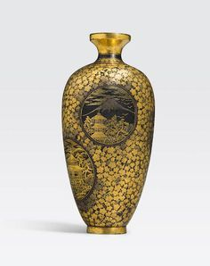 A miniature inlaid iron vase Komai style, Kyoto, Meiji era Japanese Furniture, Japanese Vase, Meiji Era, Turning Japanese, Enamels, Japanese Beauty, Asian Art, Pottery Art, Kyoto