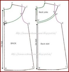Preparing draft of A line frock with round yoke -variation the draft of A line frock as explained here without extension on the shoulder line Draw new armhole curve L-E as shown by dotted l. Frock Patterns, Baby Girl Dress Patterns, Dress Sewing Patterns, Doll Clothes Patterns, Little Girl Dresses, Clothing Patterns, Girls Dresses Sewing, Clothing Labels, Toddler Sewing Patterns