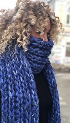 Blue oversized scarf of merino wool chunky knit winter scarf Mens Knitted Scarf, Chunky Knit Scarves, Hand Knit Scarf, Oversized Scarf, Knitted Hats, Chunky Knits, Knit Mittens, Knitting Accessories, Womens Scarves