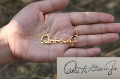 Personalized Signature Necklace, Handwriting Necklace, Your Handwriting Jewelry, 18k Gold plated on 925 Sterling Silver by JewelryDesign2014 on Etsy https://www.etsy.com/listing/191867339/personalized-signature-necklace