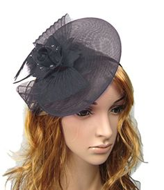 Fascinator Hair Clip Head Hoop Feather Rose Flower Derby Cocktail Party Wedding Women Black 1 -- (This is Amazon Affiliate Link) Check this awesome product by going to the link at the image.
