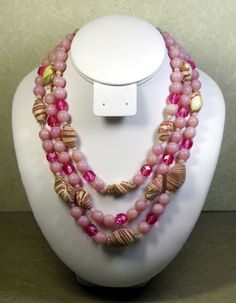 VINTAGE PINK PLASTIC  THREE STRAND NECKLACE, 14, 16,  18 INCHES, WESTERN GERMANY