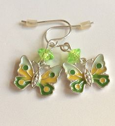 Silver Butterfly Earrings Spring Colors Pastel Yellow Green Plated Easter Dangle #Unbranded #DropDangle