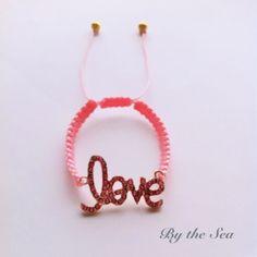 Love baby pink bracelet by BytheSeajewel on Etsy, ¥1800