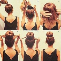 Cute hair bun tutorial.  Finally learned how to do it on my own hair.  So easy!