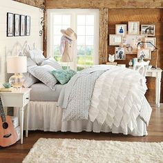 Rufflicious Quilt + Sham, White #pbteen. LOVE LOVE LOVE this, too bad it is so pricey :(