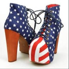 Jeffrey Campbell American Flag Lita Fab Heels Excellent condition Lita fab shoes by Jeffrey Campbell in flag print. Only worn once, so slight sign of wear on bottom. Everything else is in perfect condition. Will be shipped in original box. Jeffrey Campbell Shoes Platforms